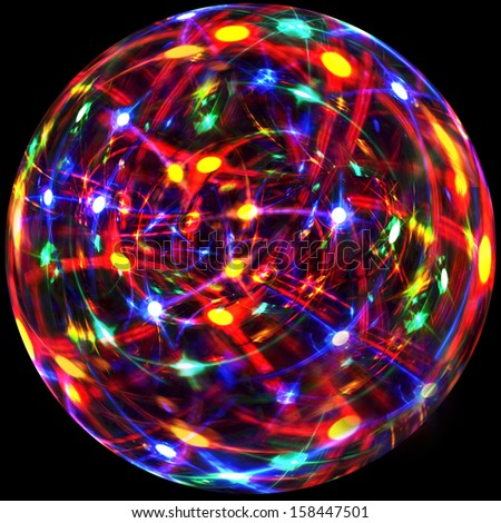A blazing, multicolored, light effect in a glass sphere for use as a party backdrop. - stock photo