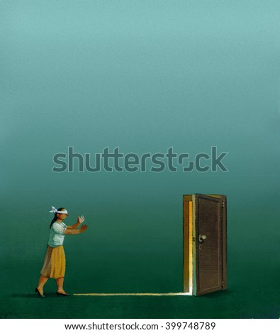 a blindfolded woman in a lawn during a foggy evening walks toward the light that come from an unreal ajar door short version - stock photo