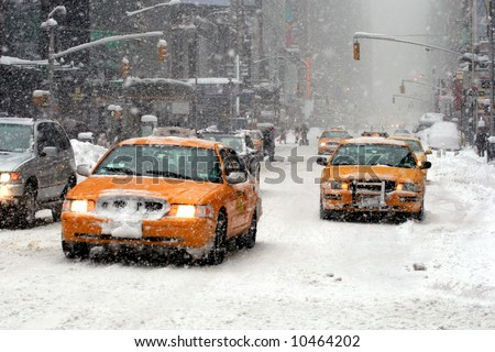 A blizzard hits New York - stock photo