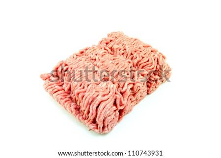 A block of minced meat on a white background