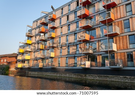A Block Of Modern Apartment Building Alongside Regentu0027s Canal (London)  Under Warm Sunset Light
