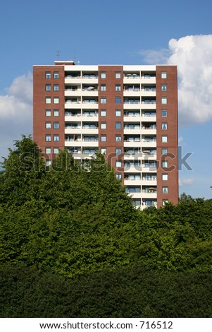 A block with flats - stock photo