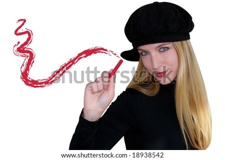 A blond woman is drawing a smudge on an invisible canvas. She is dressed in black - stock photo