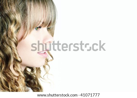 A blond young woman profile - stock photo