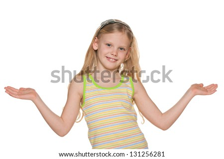 A blonde girl spreads his hands on the white background - stock photo