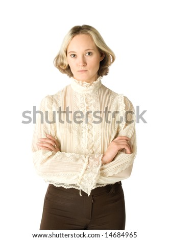 A blonde woman looking with reproof, isolated - stock photo