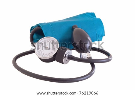A blood pressure cuff called a sphygmomanometer used to check blood pressure This is used by doctor and nurses and the health care industry. - stock photo