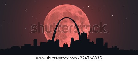 A Blood Red Super Moon behind a silhouette of downtown St. Louis, Missouri. - stock photo