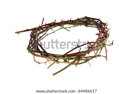 A bloody crown of thorns representative of the crown Christ wore at His crucifixation. - stock photo