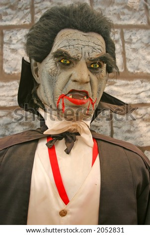 A bloody Dracula statue at a pumpkin patch in Southern California - stock photo