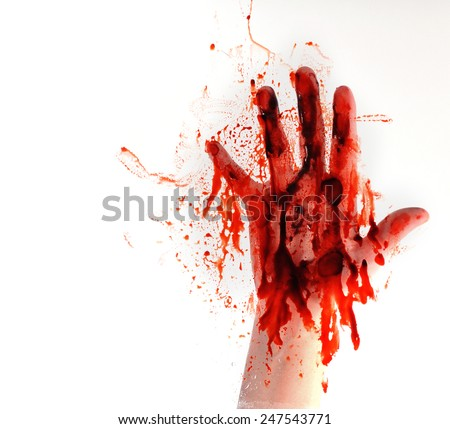A bloody hand is smearing red blood on a window on a white isolated background for a horror or killer concept. - stock photo
