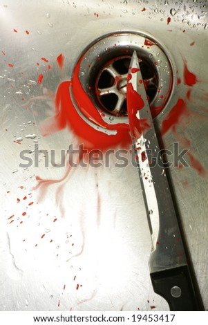 A bloody knife in a stainless steel sink. Evocative of a murder scene, washing the evidence away. - stock photo