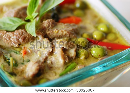 A blow of Thai beef green curry