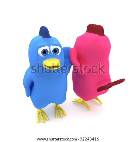 A blue and a pink bird celebrating success. - stock photo
