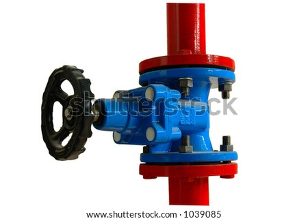 A blue and red Pipe valve (includes clipping path) - stock photo