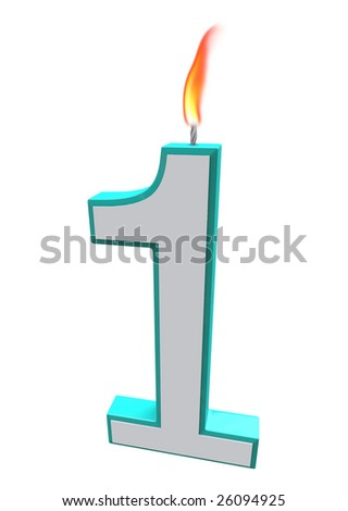A blue and white number 1 candle with fire on wick - stock photo