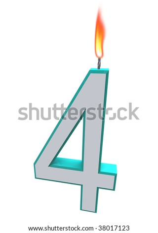 A blue and white number 4 candle with fire on wick - stock photo