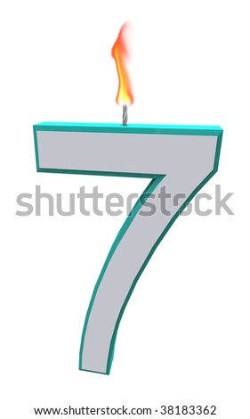 A blue and white number 7 candle with fire on wick - stock photo