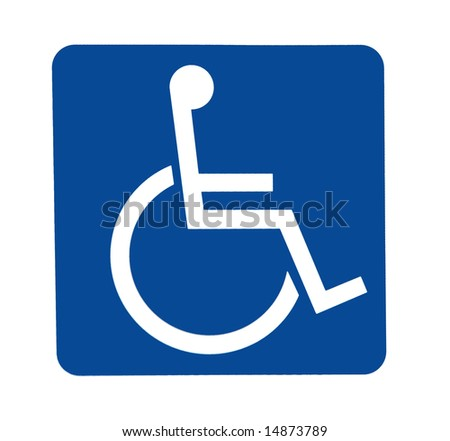 a blue and white sign for handicapped access or parking sticker - stock photo