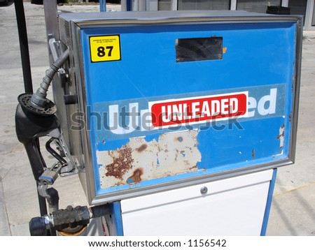 a blue and white unleaded gasoline pump