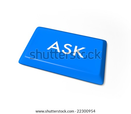 A blue ask key from a computer keyboard, isolated on a white background