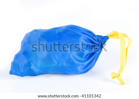 a blue bag with a yellow drawstring
