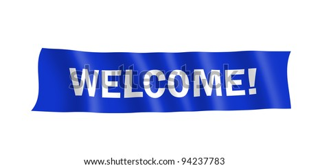 A blue banner with white text saying Welcome! - stock photo