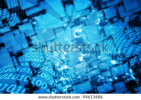 a blue binary codes background - stock photo