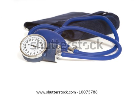 A blue blood pressure monitor or sphygmomanometer, medical device