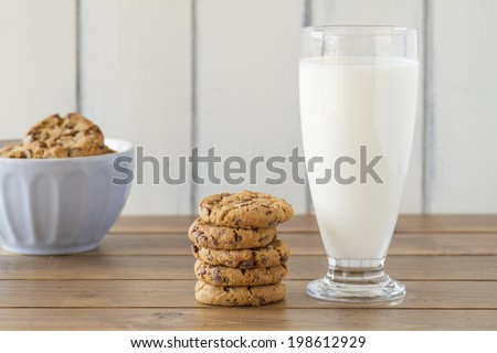 A blue bowl with chocolate chip cookies, a stack of cookies and a glass of milk on a wooden table with a white background. Vintage Style. - stock photo