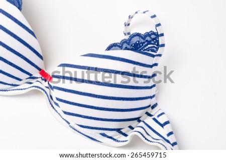 a blue bra on white - stock photo