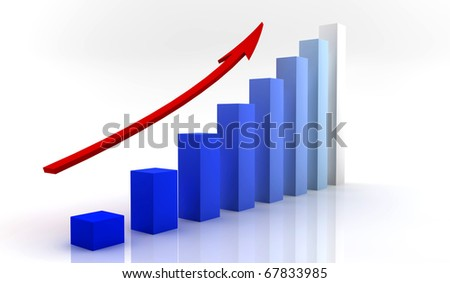 A blue business chart wit an arrow on the top - stock photo