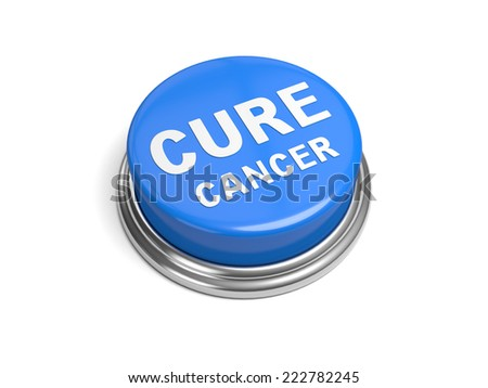 A blue button with the word cure cancer on it - stock photo