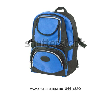 A blue canvas backpack for student or adventure - stock photo