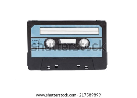 A Blue Cassette Tape Isolated on a White Background  - stock photo