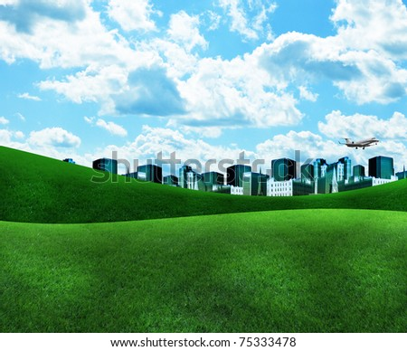 A blue city is on a bright green nature landscape with clouds in the sky. Use it for an energy or environment concept. - stock photo
