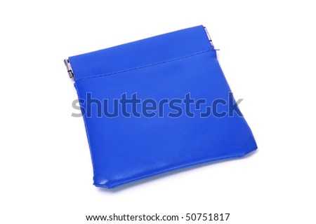 a blue coin purse isolated on a white background - stock photo