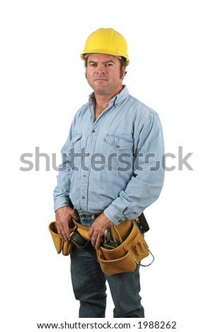 A blue collar construction worker, isolated on white. - stock photo