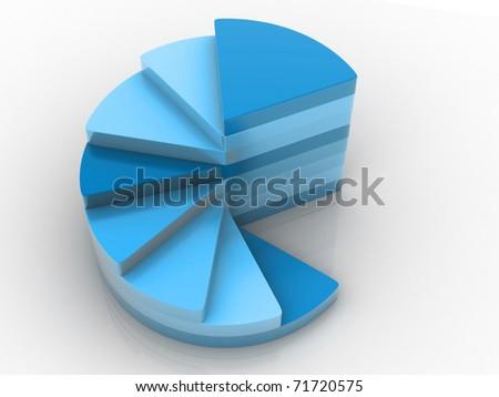 A blue colour pie chart graph - stock photo