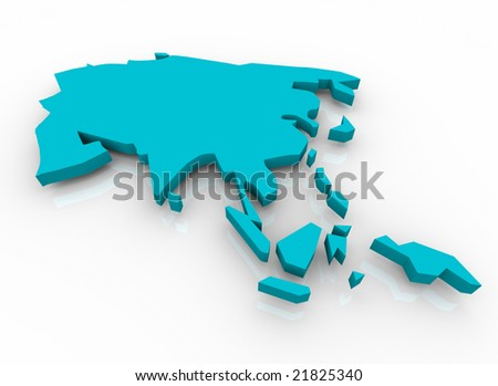 A blue conceptual map of Asia on a white background