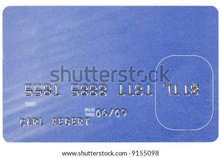 A blue credit card shot straight on. Numbers are fake. - stock photo