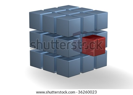 a blue cube with a middle red cube as part of the whole - stock photo