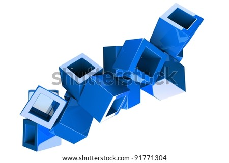 a blue cubes abstract  background