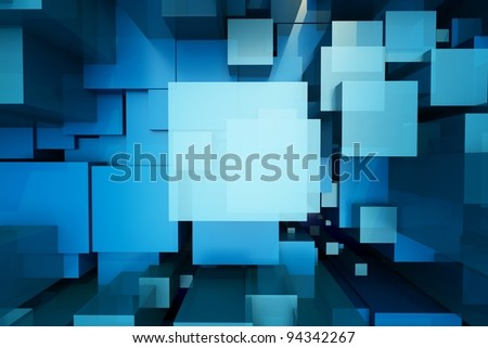 a blue cubes abstract background - stock photo
