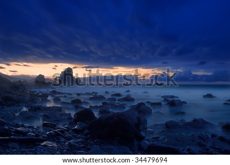 A blue dusk at Basque Country coast