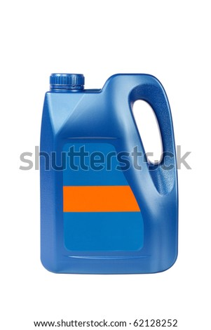 a blue engine oil bottle with blank label isolated on white