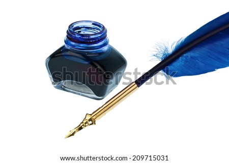 a blue feather pen with an ink bottle on white background - stock photo