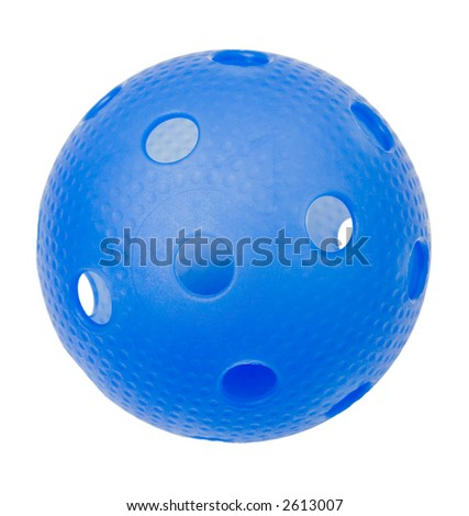 A blue floorball isolated on a white background.
