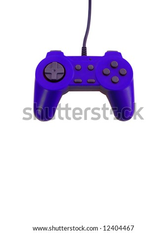 A blue game controller isolated over white with plenty of copy space.  This file includes the clipping path. - stock photo