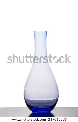 A Blue Glass Vase Against a White Background